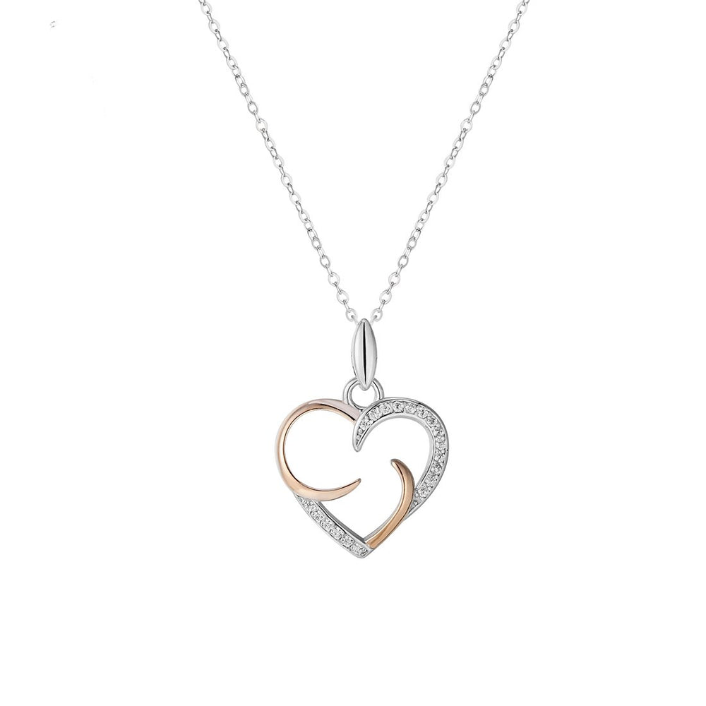 Hadara Open Heart Silver Necklace with Zirconia Stones in 18k Rosegold