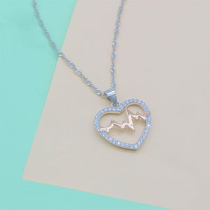 Honorina Pulse in Open Heart Silver Necklace with Zirconia Stones in 18k Rosegold