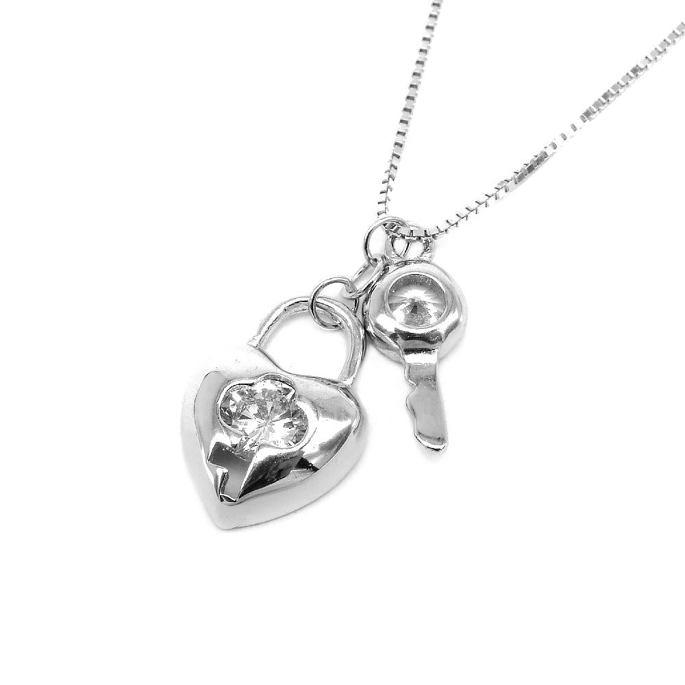 Harumi Heart Lock and Key in Fine Box Chain Silver Necklace