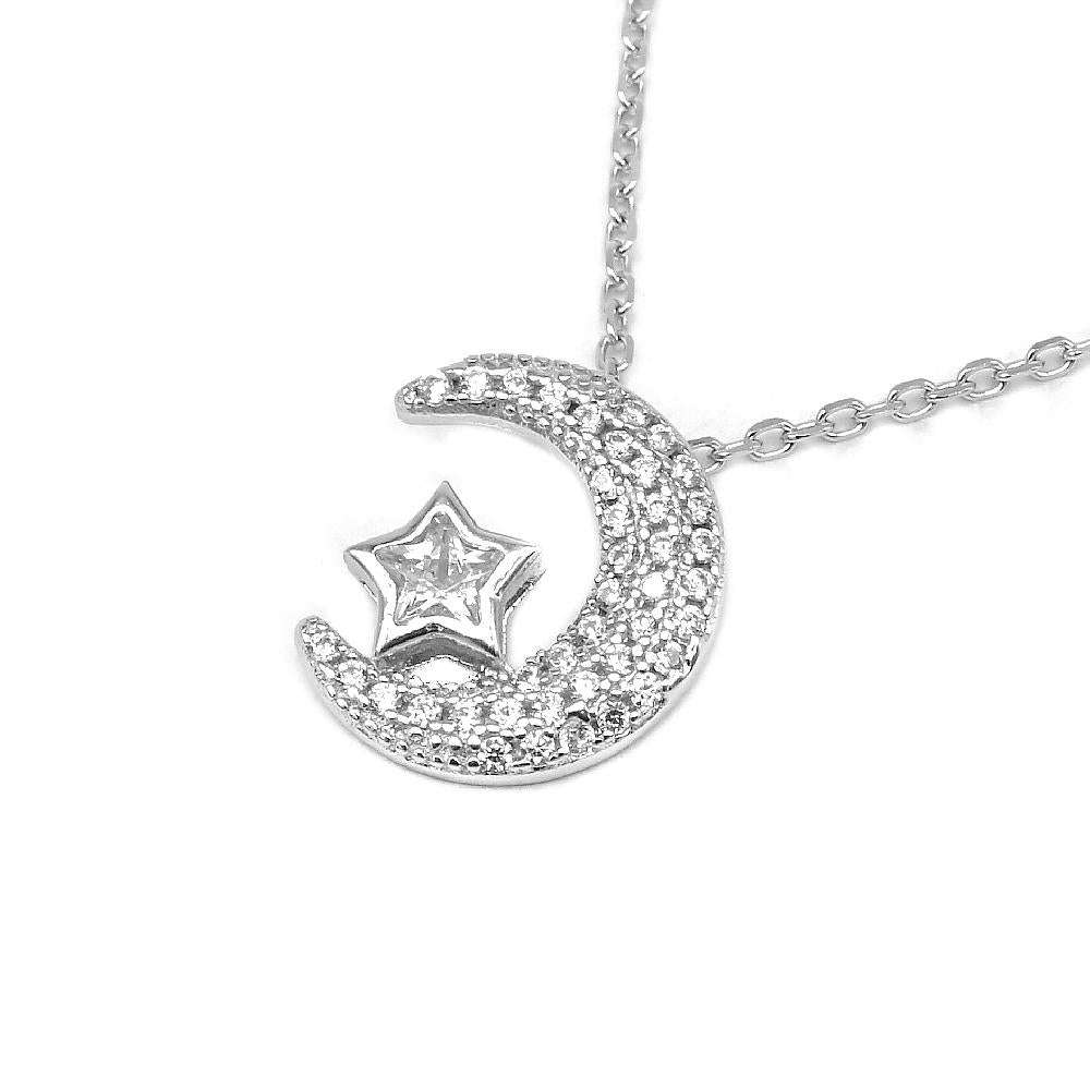 Hedi Silver Crescent Moon with Star Necklace
