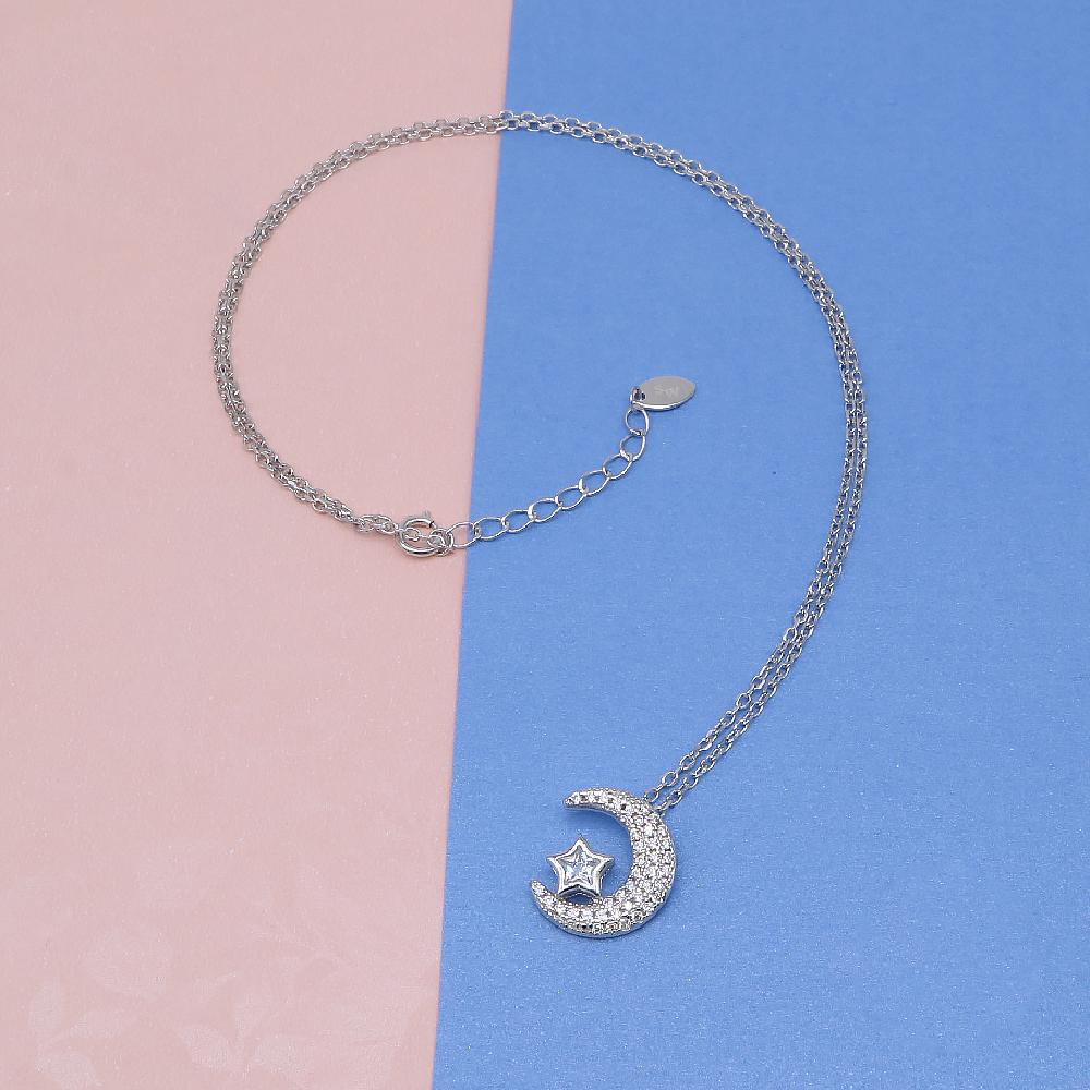 Hedi Silver Crescent Moon with Star Necklace 2