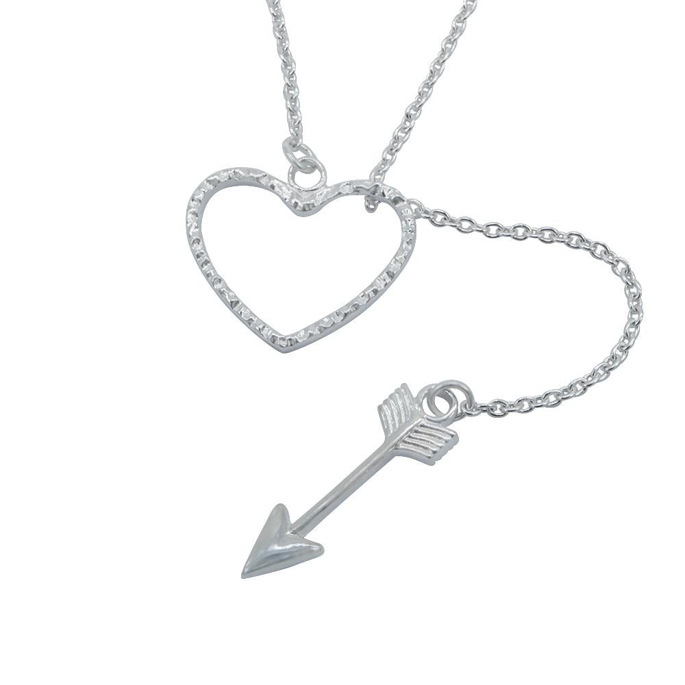 Hanoi Open Heart with Drop Arrow Pendant Necklace