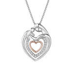 Hedy Mother and Child Layered Open Hearts Silver Necklace with Zirconia Stones