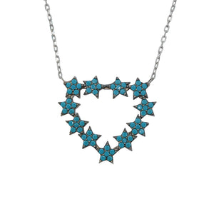 Hinda Open Heart Turquoise Silver Necklace
