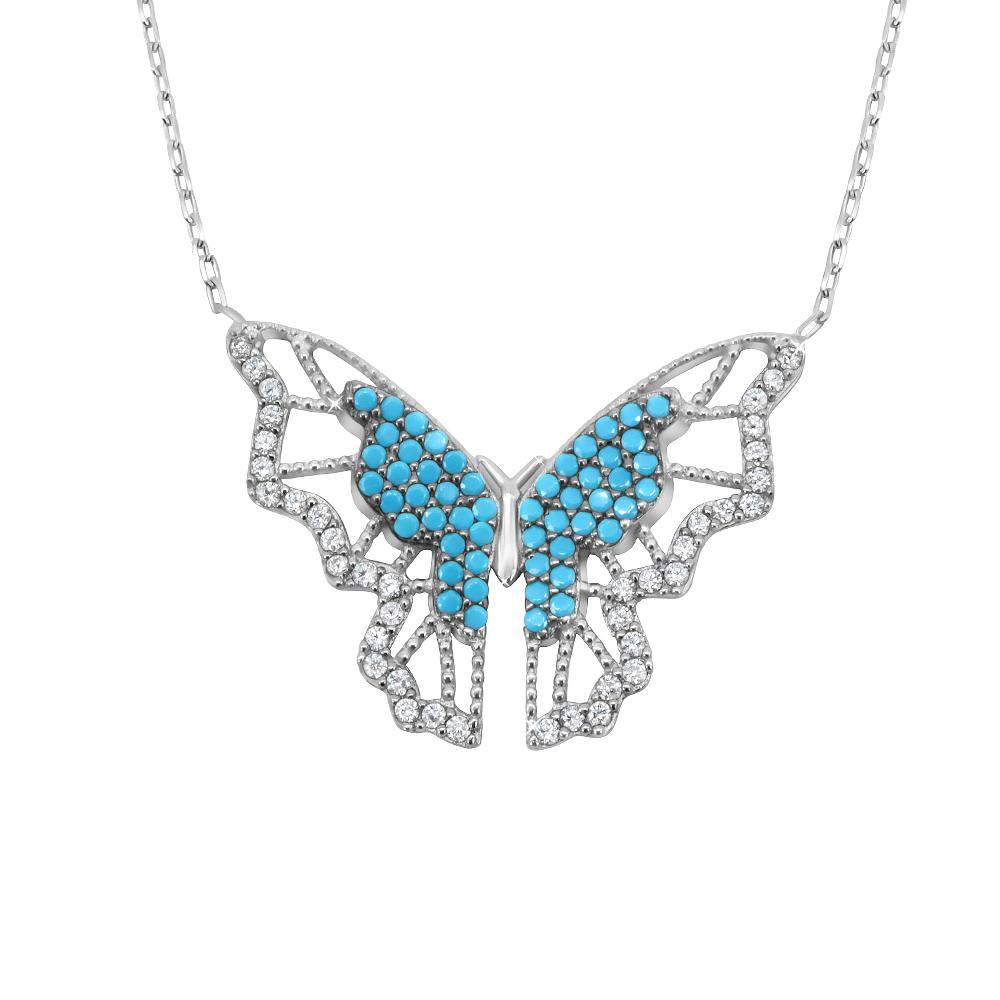 Load image into Gallery viewer, Henriette Silver Turquoise Butterfly Necklace