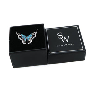 Load image into Gallery viewer, Henriette Silver Turquoise Butterfly Necklace Box Packaging