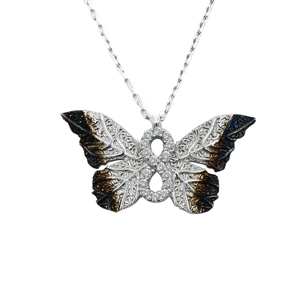 Load image into Gallery viewer, Haili Silver Butterfly Infinity Necklace