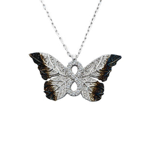 Haili Silver Butterfly Infinity Necklace