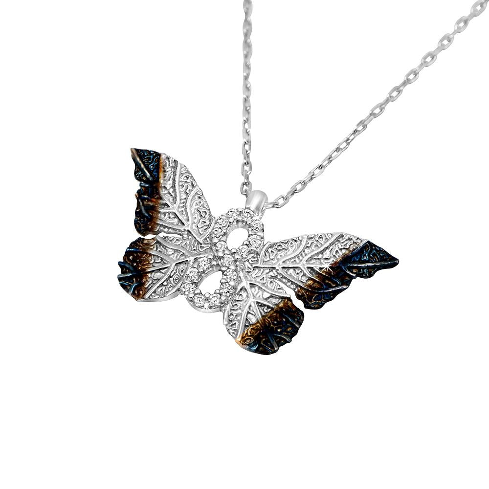 Haili Silver Butterfly Infinity Necklace 2