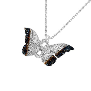 Load image into Gallery viewer, Haili Silver Butterfly Infinity Necklace 2