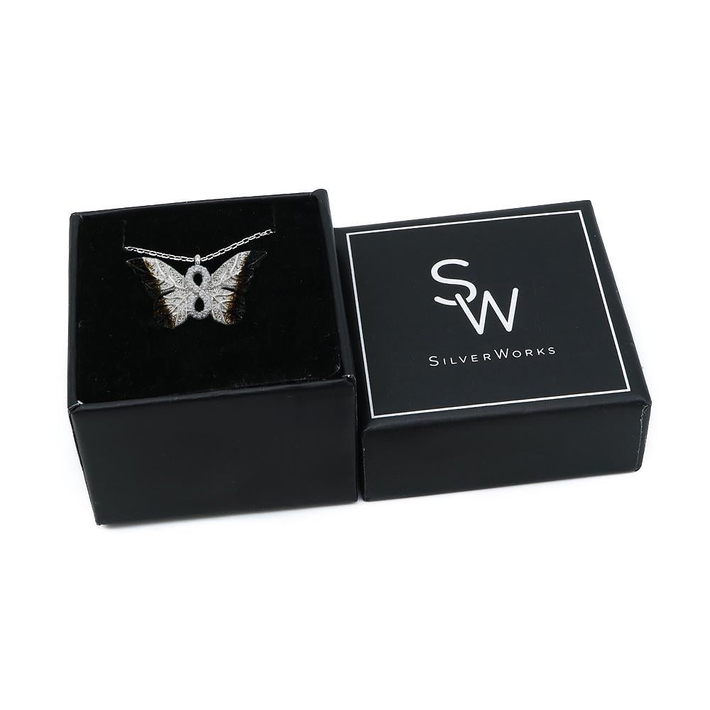 Haili Silver Butterfly Infinity Necklace Box Packaging