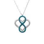 Hania Open Heart with Infinity Turquoise Silver Necklace