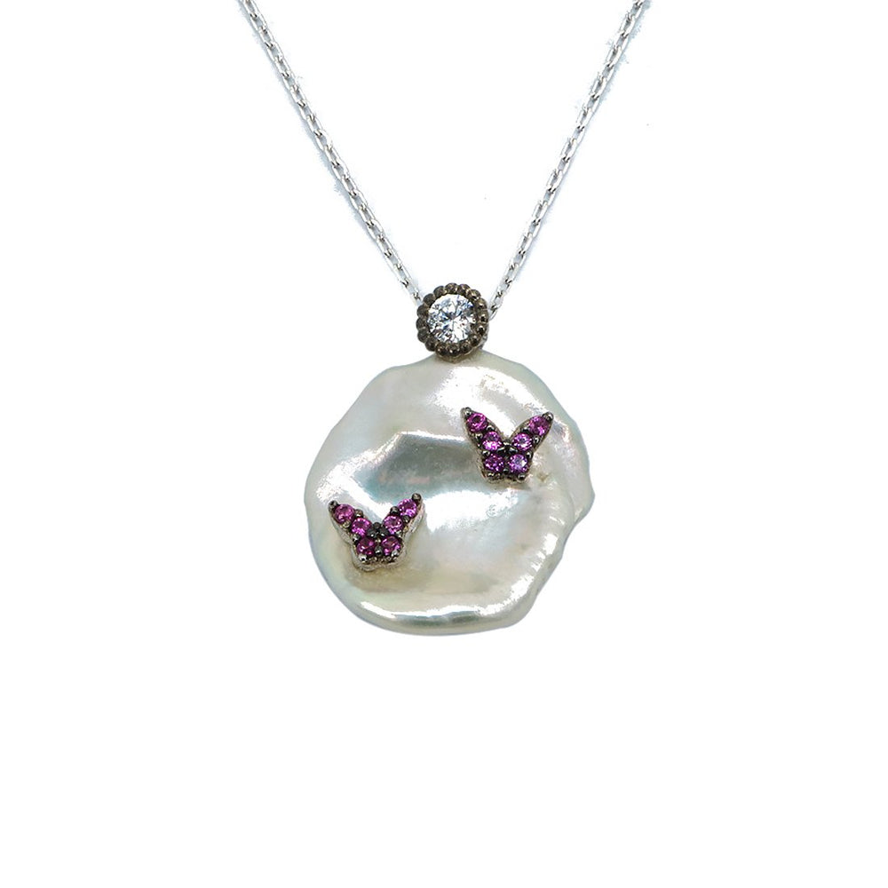 Huguette Pink Butterfly in Baroque Pearl Silver Necklace