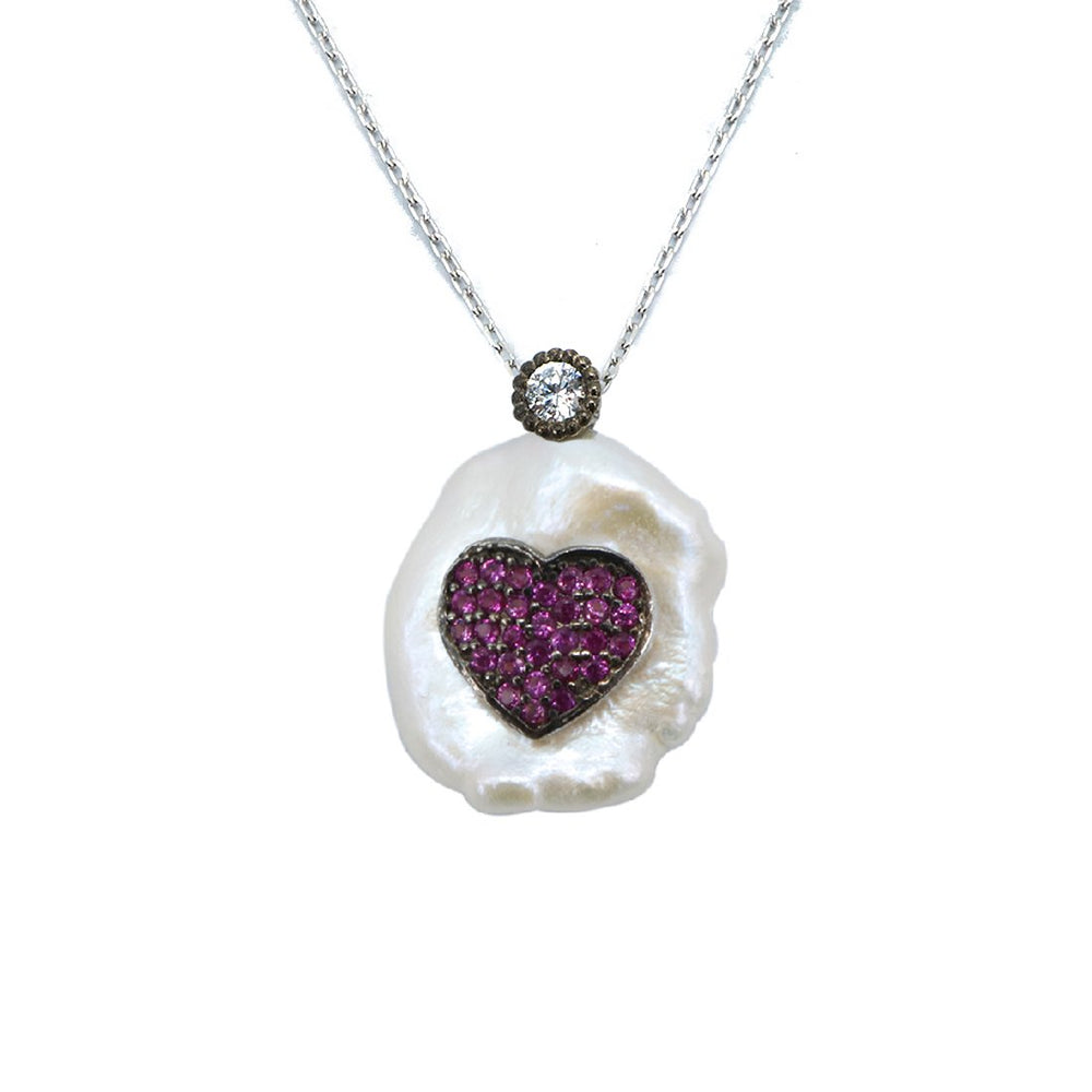 Hudson Pink Heart in Baroque Pearl Silver Necklace