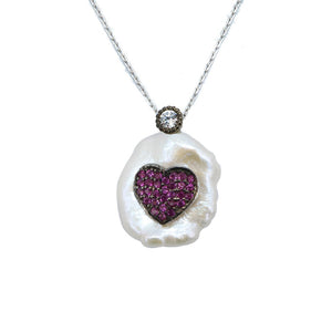 Load image into Gallery viewer, Hudson Pink Heart in Baroque Pearl Silver Necklace