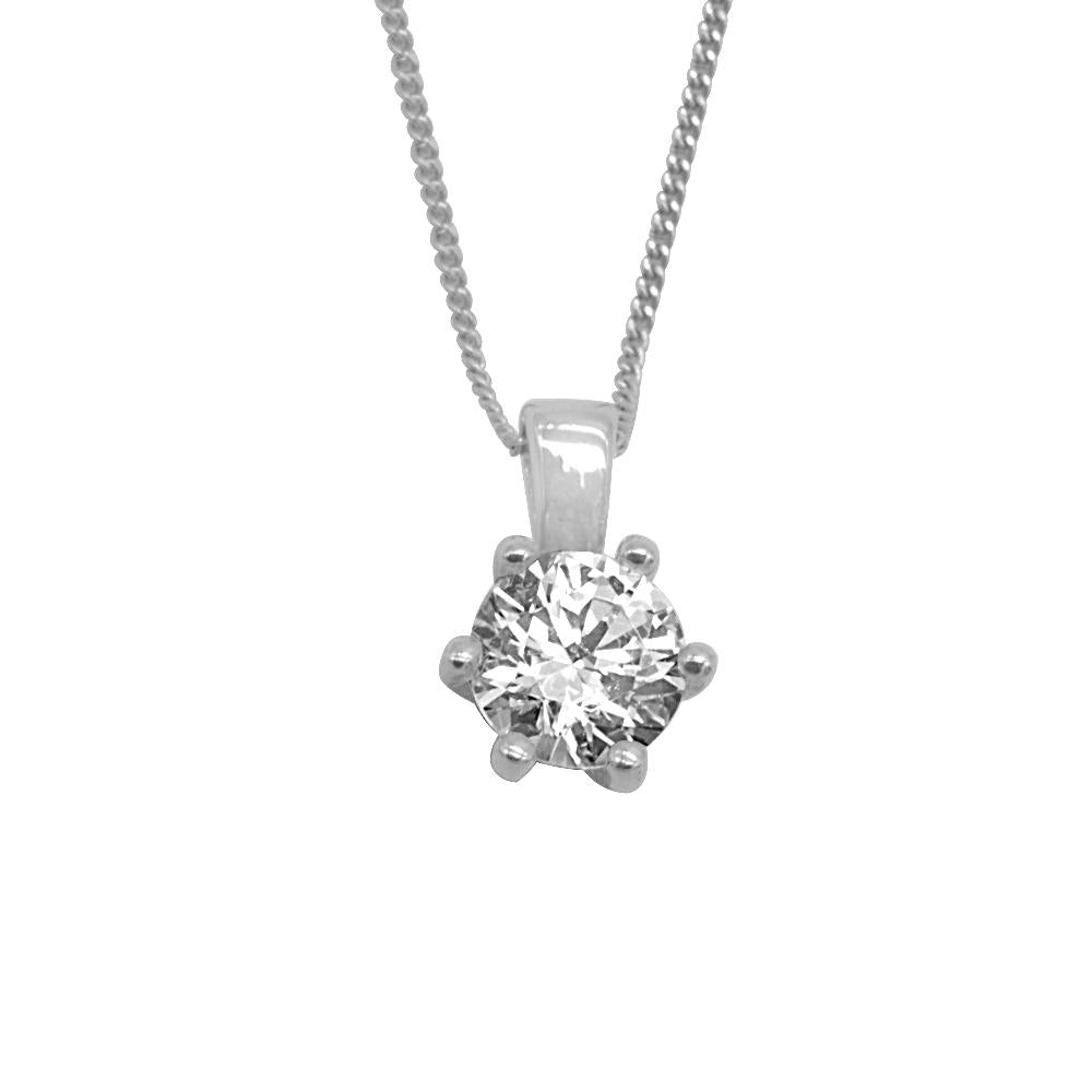Nika 6mm Swarovski® Zirconia with Fine Silver Curb Chain