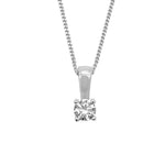 Heidi 4mm Swarovski® Zirconia Solitaire Pendant with Fine Curb Silver Chain