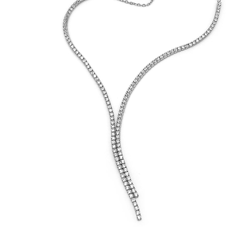 Harlo Assymetrical Tennis Silver Necklace
