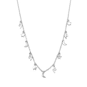 Helen Moon, Star and Lightning Pendant in Thin Rolo Chain Silver Necklace