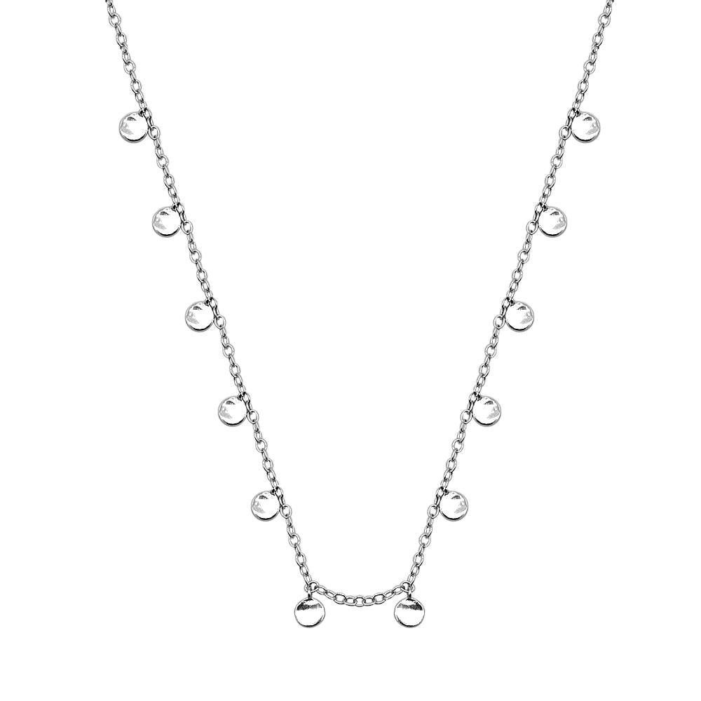 Helena Small Round Tag Pendant in Thin Rolo Chain Silver Necklace