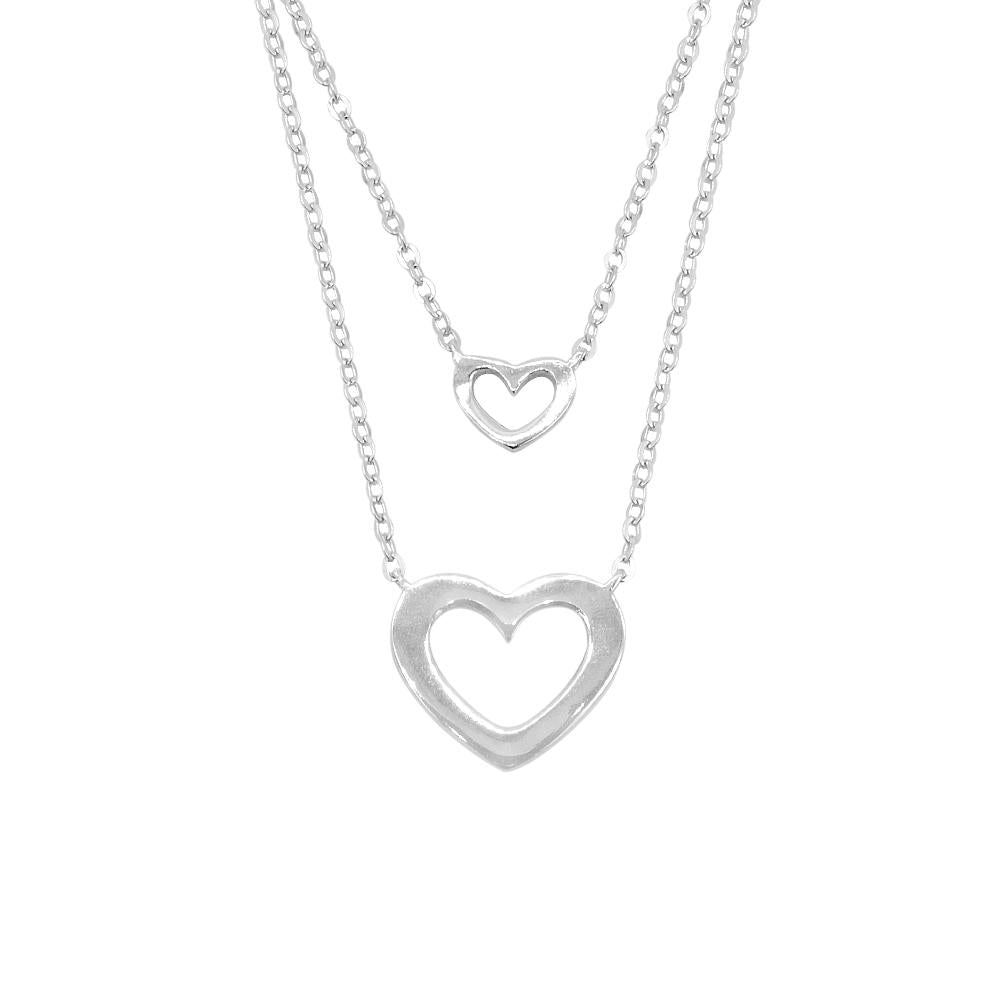 Hidemi Layered Silver Necklace with Open Heart Pendant
