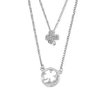 Hattie Layered Silver Necklace with Clover Pendant