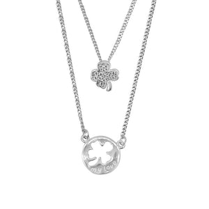 Hattie Layered Silver Necklace Women with Clover Pendant 2