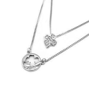 Hattie Layered Silver Necklace Women with Clover Pendant