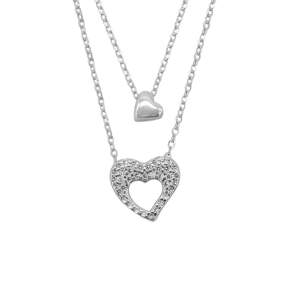 Hedda Silver Layered Necklace for Women with Heart Pendant