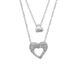 Hedda Silver Layered Necklace Women with Heart Pendant