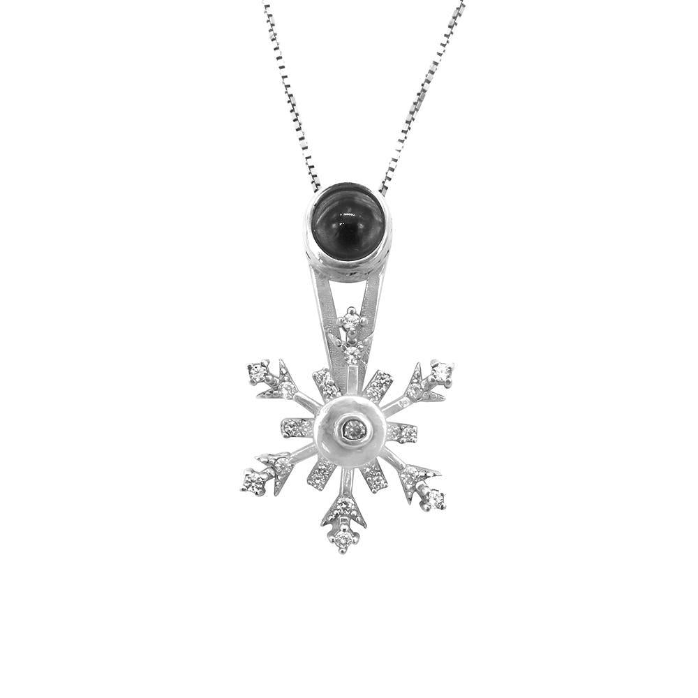 Hideko Spinning Stellar Snowflakes Pendant in Fine Box Chain Necklace