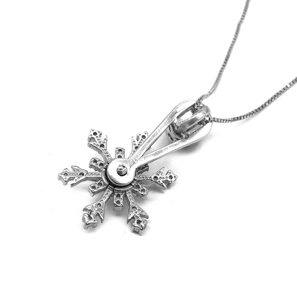 Hideko Spinning Stellar Snowflakes Pendant in Fine Box Chain Necklace 2