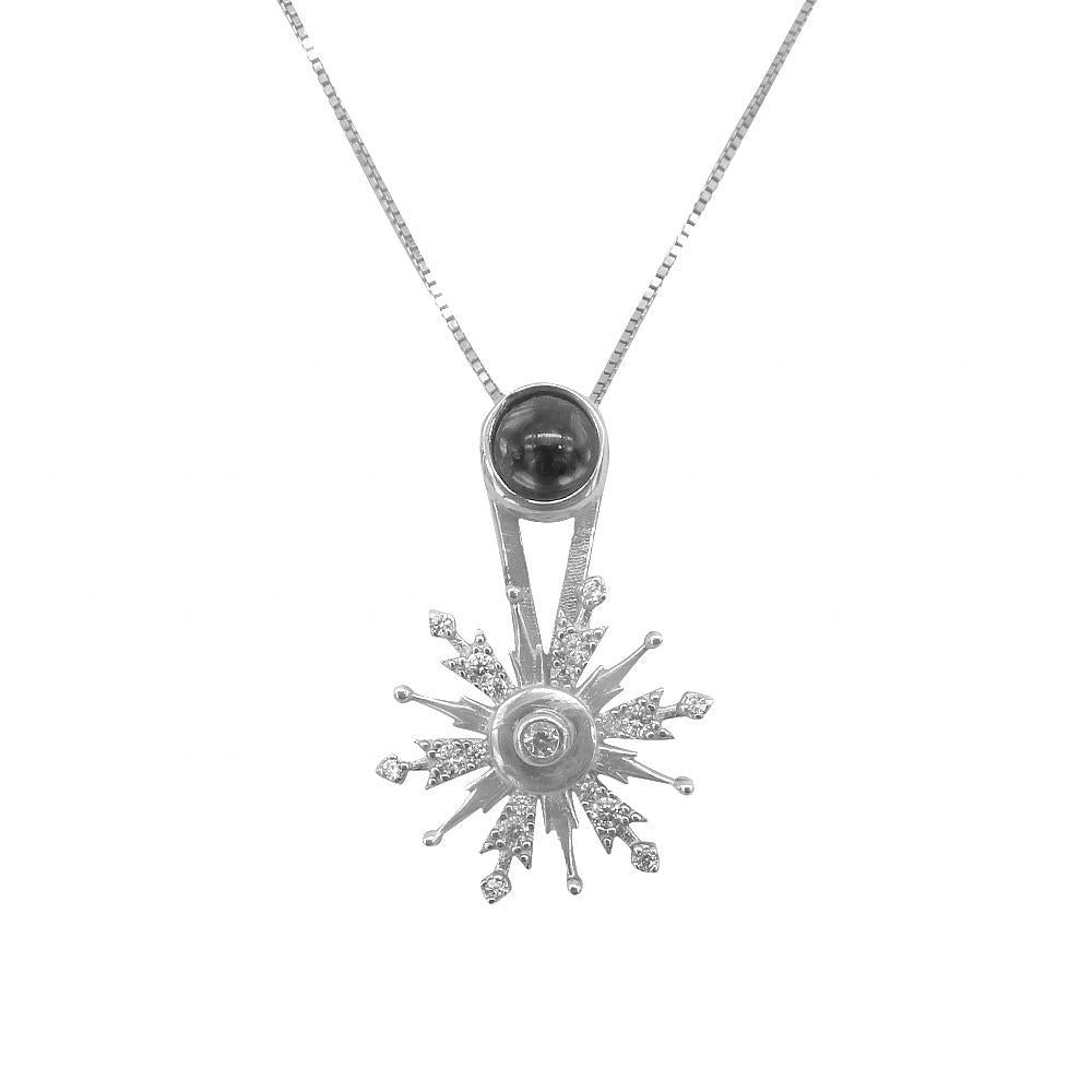 Disney® Hindy Silver Spinning Dendrites Snowflakes Pendant in Fine Box Chain Necklace
