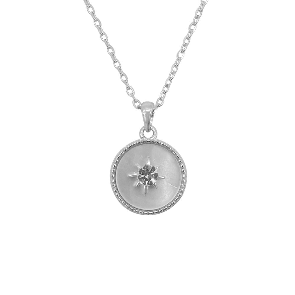 Load image into Gallery viewer, Haruko Silver Necklace for Women with Flat Pearl Star and Starburst Pendant