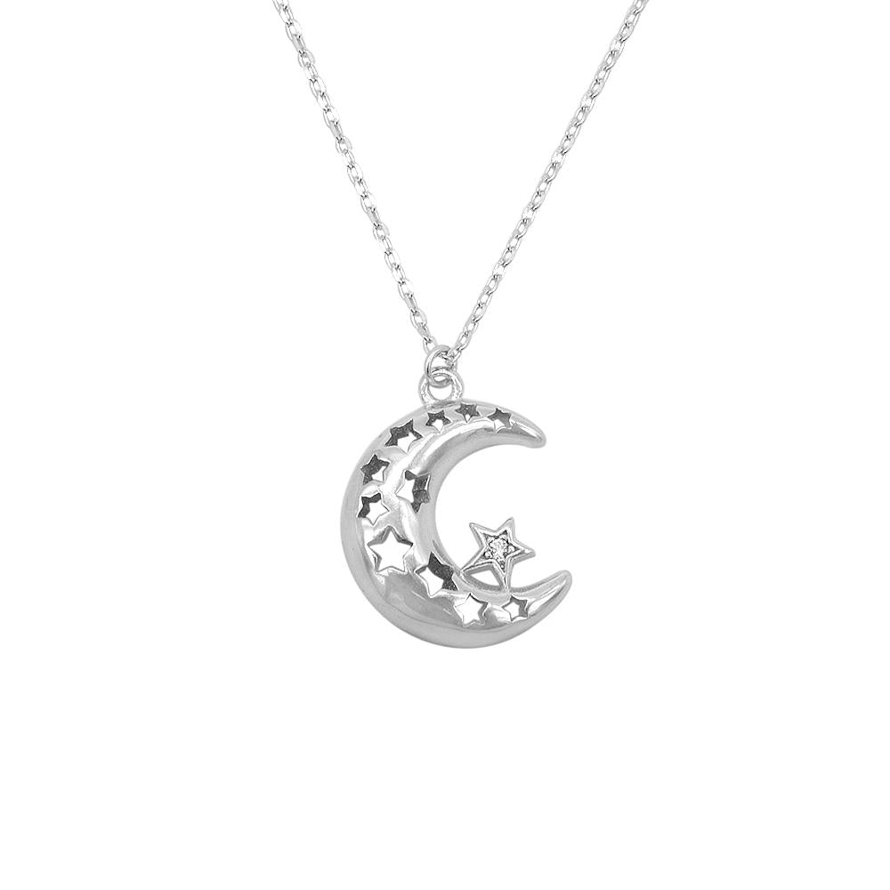 Hollyn Silver Necklace with Puff Crescent Moon Cut-Out Star Pendant 2