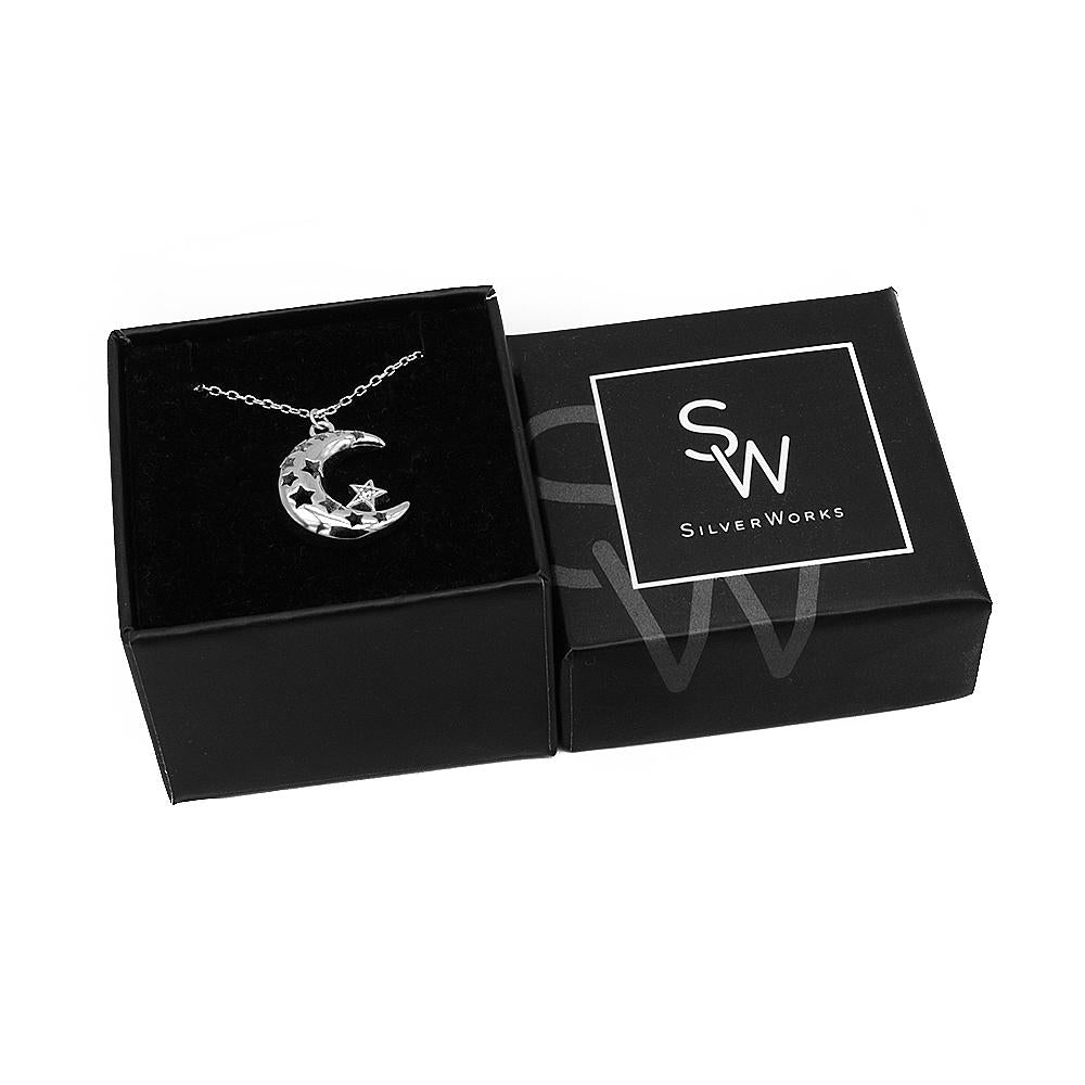 Hollyn Silver Necklace with Puff Crescent Moon Cut-Out Star Pendant Box Packaging