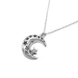 Hollyn Silver Necklace with Puff Crescent Moon Cut-Out Star Pendant