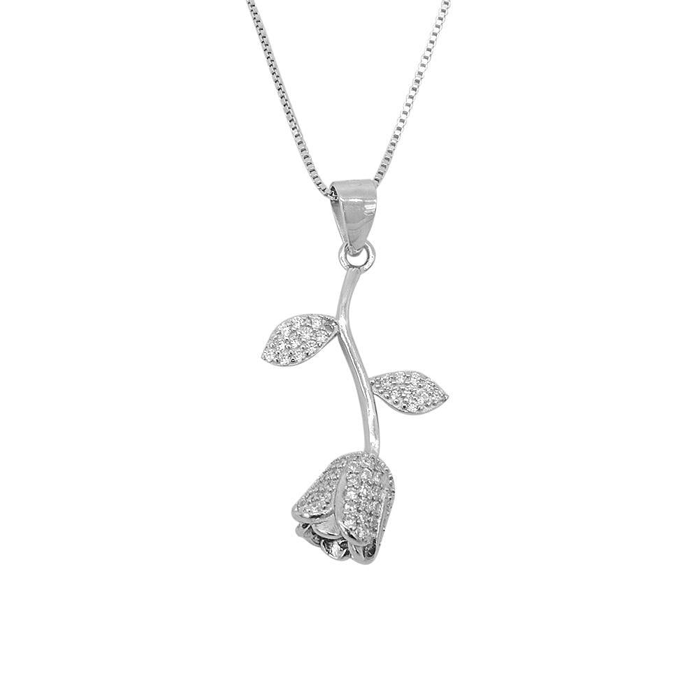 Hiori Silver Upside Down Rose Necklace