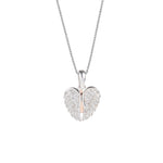 Haven Heart and Pave Sliding Wings Cover Silver Necklace with Zirconia Stones
