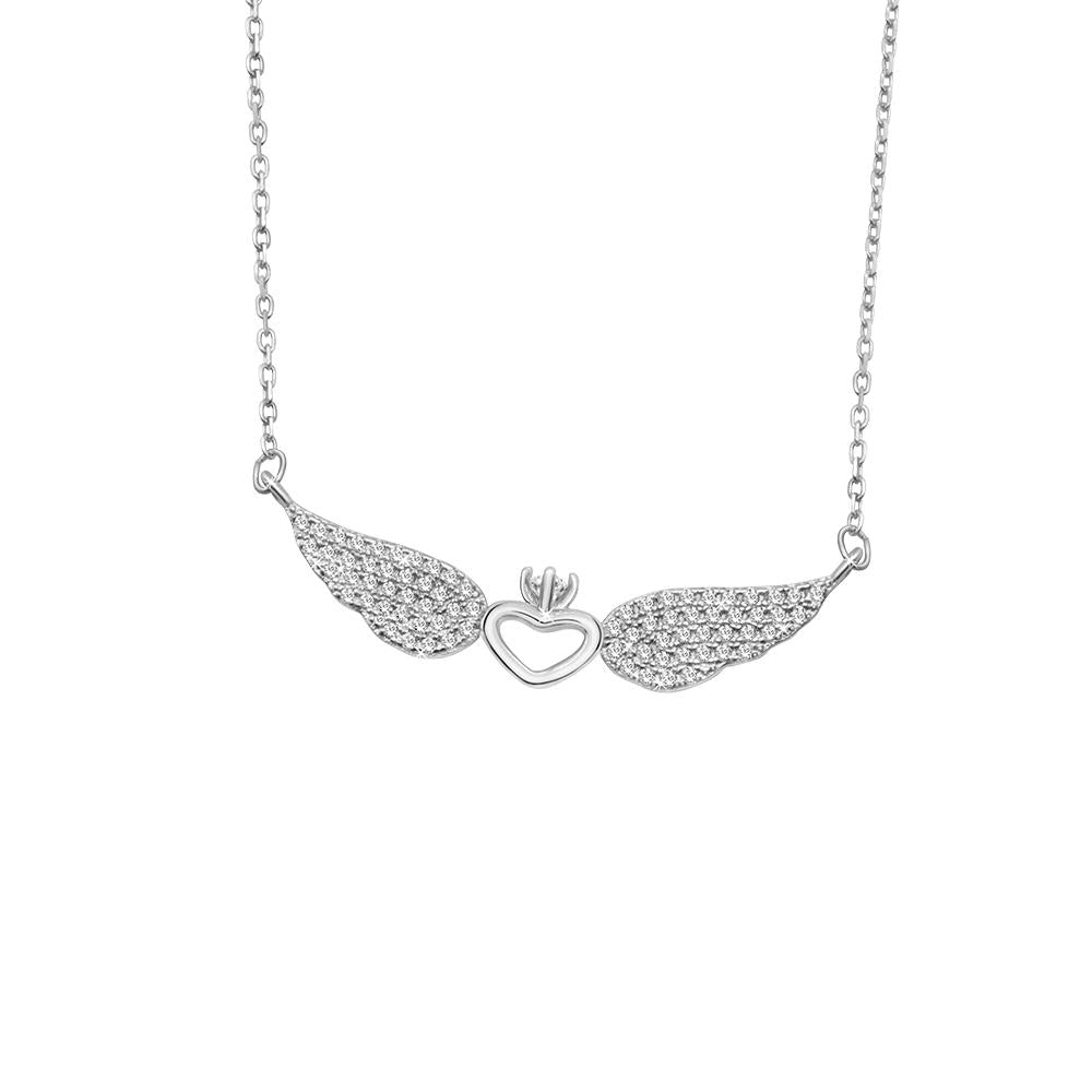 Holly Silver Necklace with Winged Crown Heart Pendant
