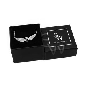 Holly Silver Necklace Women with Winged Crown Heart Pendant in a Box Packaging