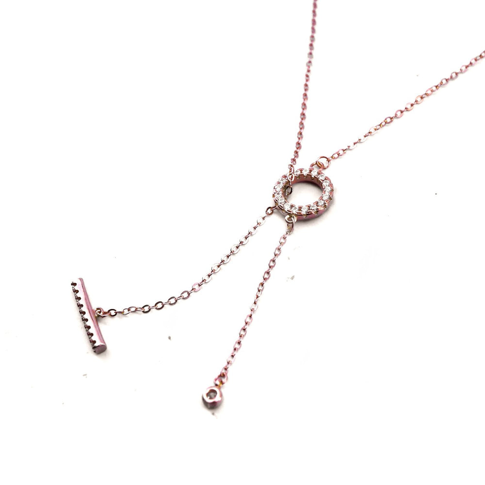Toggle Style Rosegold Plated Necklace with Drop Bar and Round Zirconia