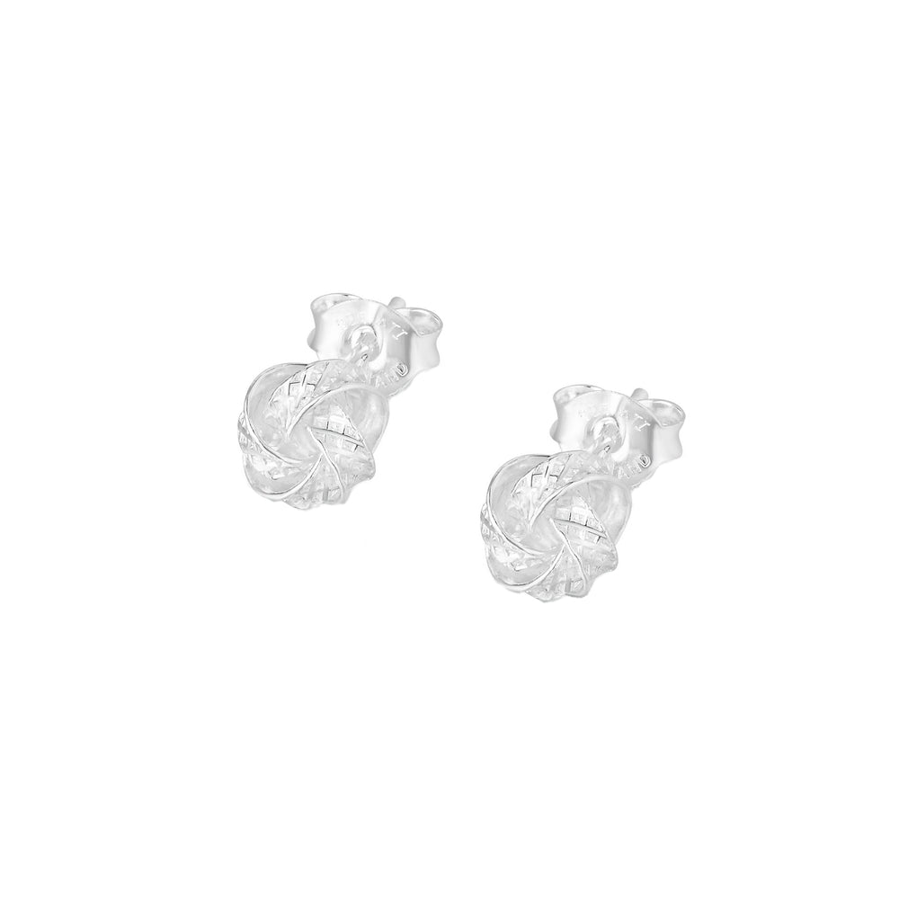 Nahria Silver Stud Earrings with Love Knot Design