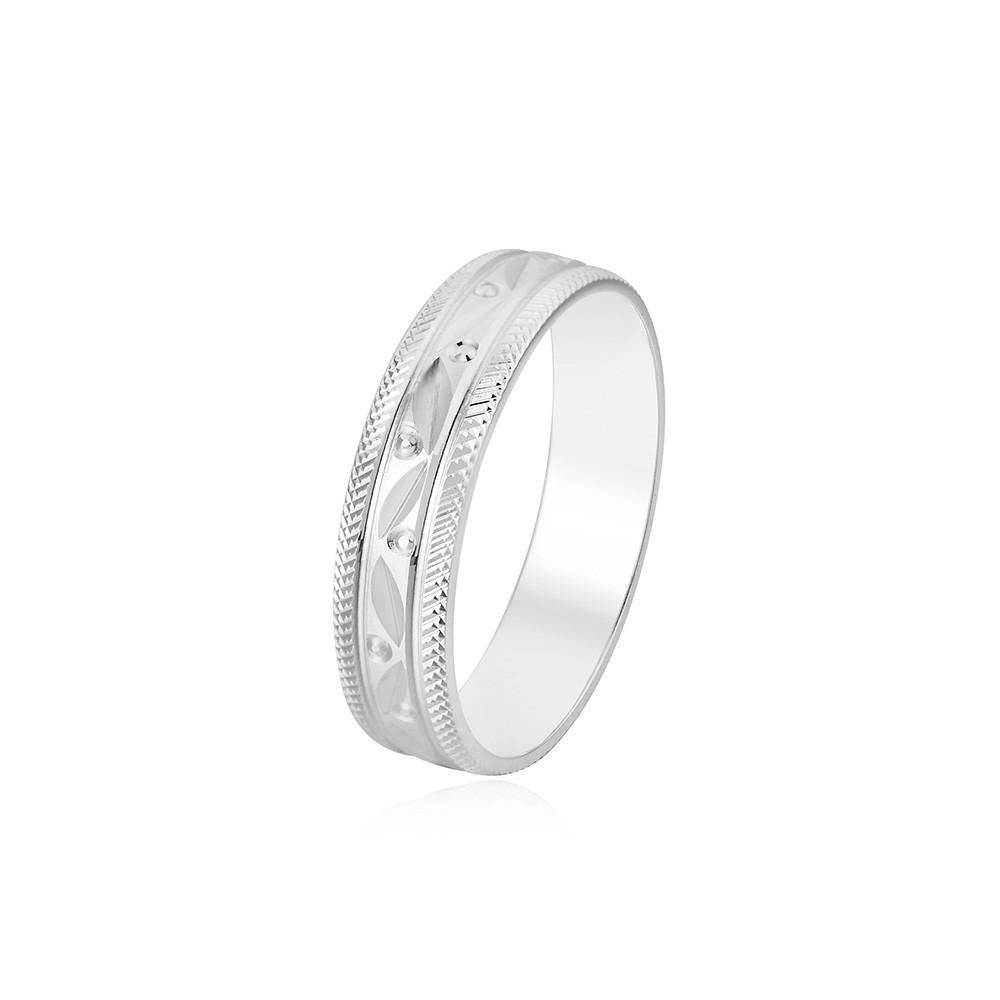 Silver Dot & Zigzag Design Couple Band Ring