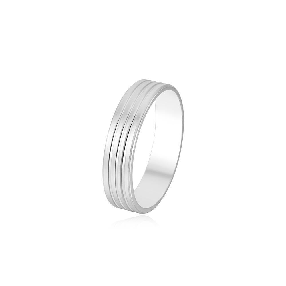 Sandblasted Couple Band Ring with Rail Design