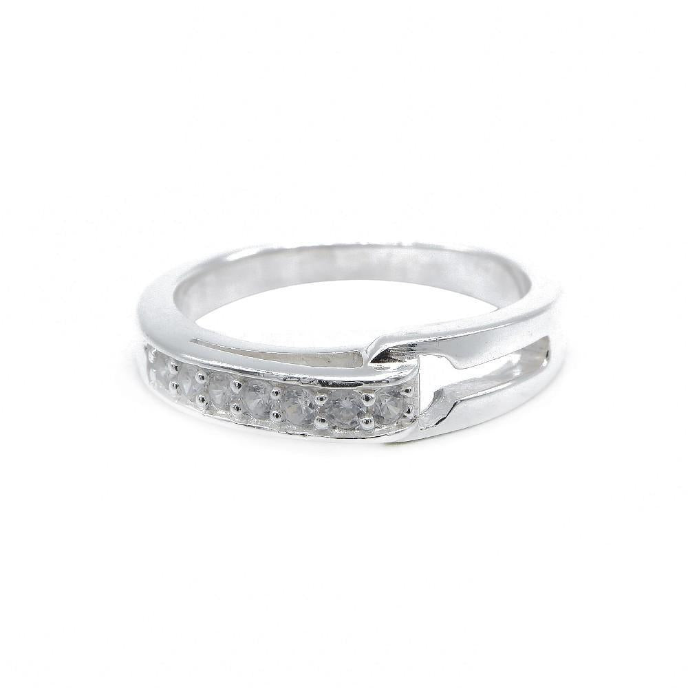 Open Half Eternity Couple Band Ring