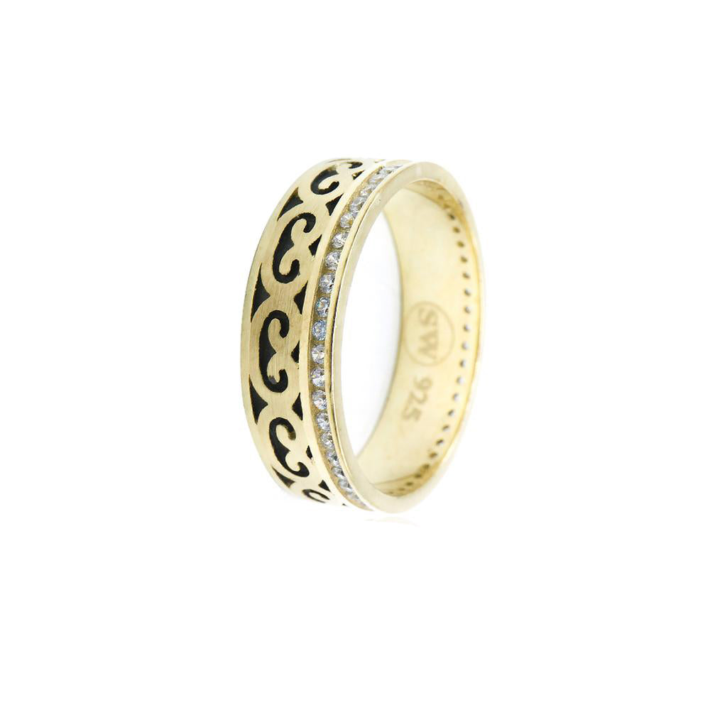 Imani Gold Plated Celtic Design Ring with Cubic Zirconia