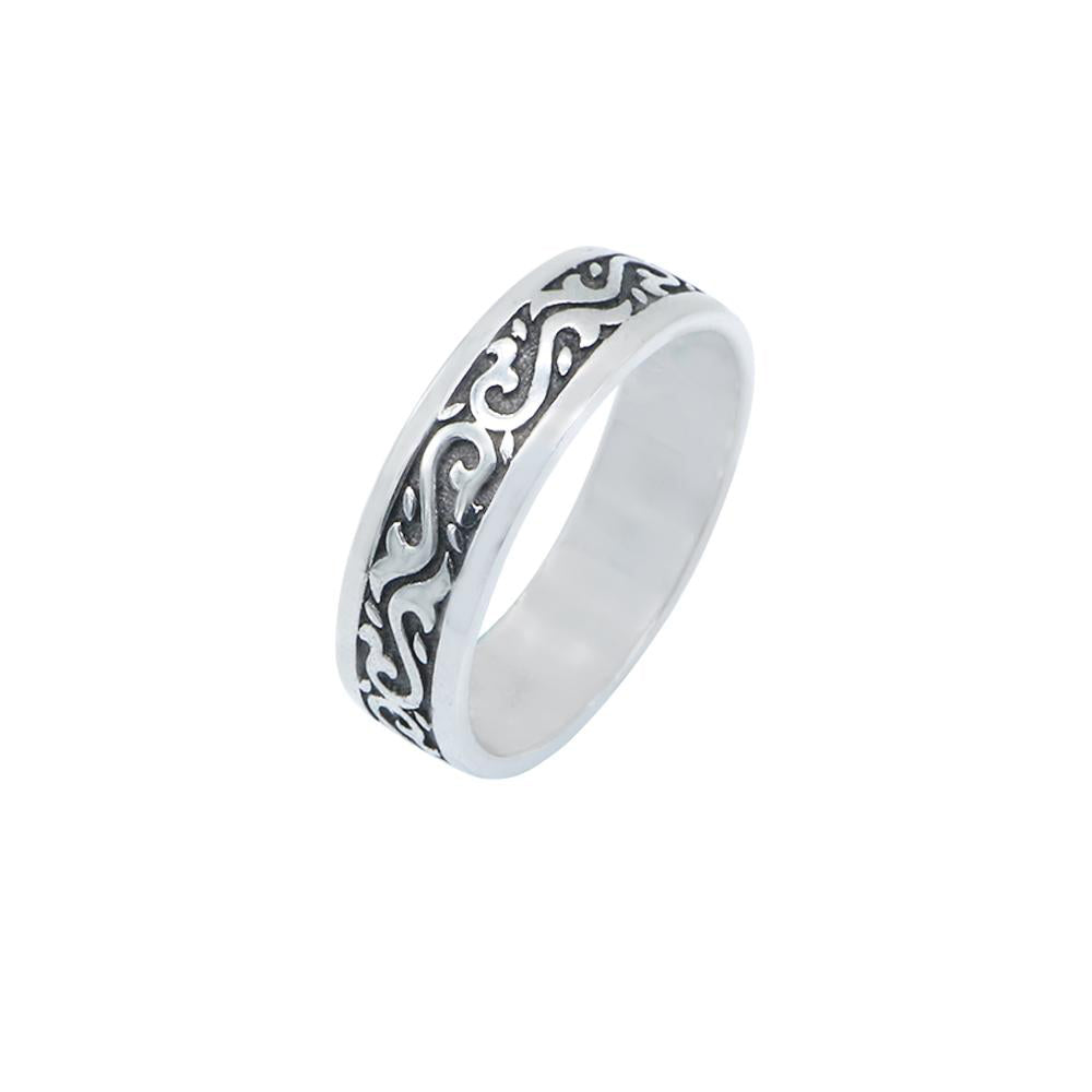 Icah Oxidized Silver Tribal Ring