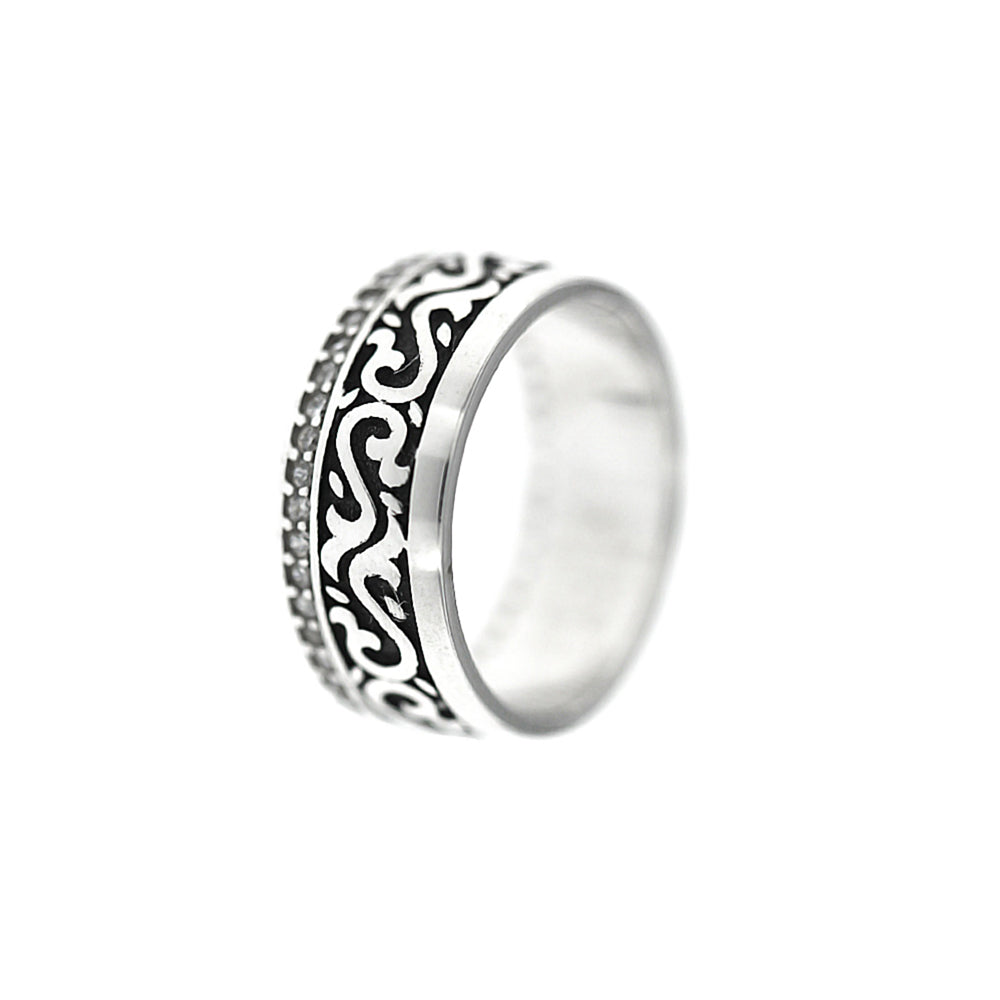 Ilor Oxidized Silver Tribal Design Silver