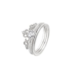 Thea Majestic 2 in 1 Silver Crown Ring with Cubic Zirconia